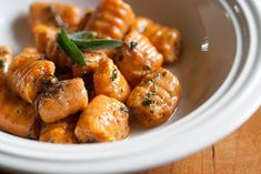 Sweet Potato Gnocchi With Sage And Brown Butter With Sweet Potatoes, All-purpose Flour, Fresh Sage, Salt, Freshly Ground Pepper, Nutmeg, Grated Parmesan Cheese, Unsalted Butter