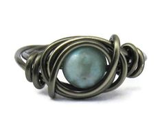 Boho Ring  Turquoise Jasper and Gunmetal Wire by DistortedEarth, $10.00