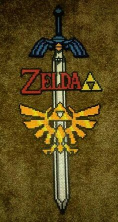 Zelda perler bead awesomeness!!!!! Buy and see my stuff here: https://www.facebook.com/thatssoperler/