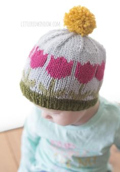 00ae96fdf5f Fair Isle Spring Tulip Hat Knitting Pattern - Little Red Window