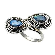 'Mystic Princess' Sterling Silver Labradorite Ring, Size 7 Adjustable