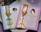 Communion Confirmation Seed Packet and Rosary Favors - boy girl pink blue lavender First Holy