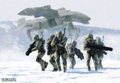 Snow soldier suits - 4 legs flying transport vehicle