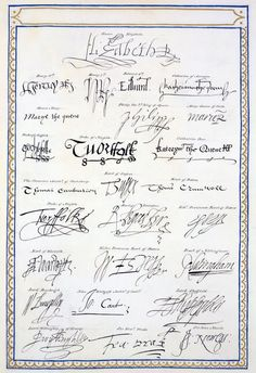 'Reproduction of Signatures of the Tudors and their Court from 'Memoirs of the Court of Queen Elizabeth''