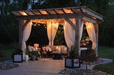 What is the purpose of a Pergola? You can create an unforgettable under your pergola Backyard Gazebo, Backyard Seating, Backyard Patio Designs, Outdoor Pergola, Pergola Designs, Pergola Kits, Cedar Pergola, Small Pergola, Pergola Lighting