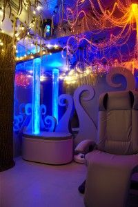 Music Therapy room for Pain Relief in children with chronic illness includes a Tree of Life with fiber optic lights, a Bubble Tower and Somatron Recliner w/ Fibre optics. Notes by @GailZahtz