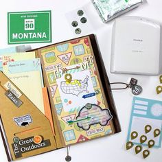 Currently on my desktop. Setting up my Midori Traveler's Notebook (MTN) for our upcoming road trip this Thursday . Freckled Fawn, Travelers Notebook, Road Trip, Bullet Journal, Vacation, Journal Ideas, Desktop, Scrapbooking, Vacations