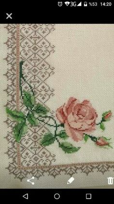 This Pin was discovered by rah Cross Stitch Boards, Cross Stitch Rose, Cross Stitch Flowers, Cross Stitching, Cross Stitch Embroidery, Hand Embroidery, Cross Stitch Patterns, Floral Embroidery Patterns, Embroidery Designs