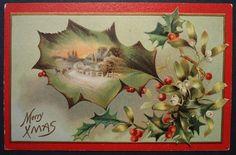 Antique Christmas Postcard Holly Xmas Winter Landscape 1909