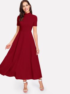 Shop Mock Neck Fit   Flare Dress online. SheIn offers Mock Neck Fit   Flare acbc02e42