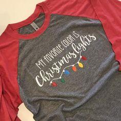 My favorite color is Christmas lights shirt raglan baseball Christmas Diy, Christmas Decorations, Cute Christmas Shirts, Christmas Clothes, Christmas Fashion, Christmas Outfits, Toddler Christmas Shirts, Christmas Monogram Shirt, Merry Christmas