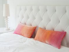 """Soft peach and pale pink ombre velvet pillow cover, 12"""" x 20"""" lumbar boudoir pillow cover, ready to ship"""