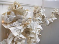 Christmas Garland: book pages repurposed {I think I might have a hard time ripping apart a book}