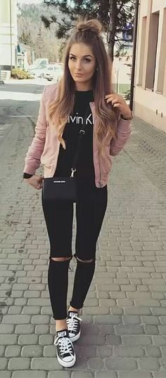 How to wear: black with pink jacket!
