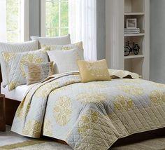Top picks - Mirna Yellow and Grey Quilt Set
