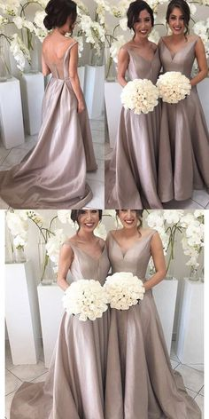 2017 bridesmaid dress, long bridesmaid dress with train, champagne long prom dress, satin bridesmaid dress