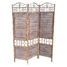 For Sale on - room dividers with bamboo and rattan three-panel screen. Room Divider Shelves, Room Divider Screen, Wall Mounted Shelves, Glass Shelves, Display Shelves, Room Dividers, Shelf Wall, Bamboo Screening, Bamboo Crafts