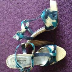 Heels 4 inch Heel. Blue, turquoise, and cream color. ABS Allen Schwartz Shoes Heels