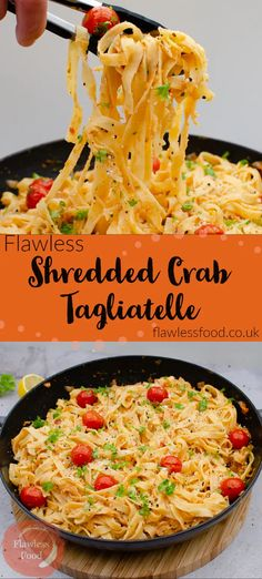 Fantastic simple Shredded Crab Tagliatelle is a quick and easy to make pasta dinner. Great recipe idea for canned / tinned shredded crab meat. Cooked in a homemade sauce of garlic parsley butter, lemon and tomatoes. Stirred through cooked tagliatelle, linguine, pappardelle or spaghetti.