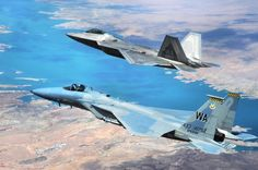 Old and New.  F-15 and F-22
