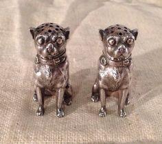 Dominick & Haff Aesthetic Sterling Silver Figural Pug Dog Salt & Pepper Shakers #DominickHaff
