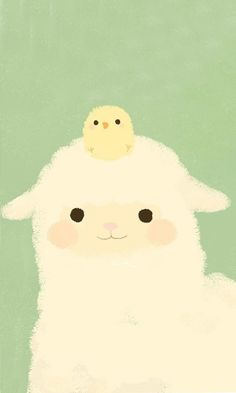 OMGSH its like im the sheep and kimmi is the little chicklet that sits on my head all day long. i miss her when shes not there OMGSH its like im the sheep and kimmi is the little chicklet that sits on my head all day long. i miss her when shes not there Alpacas, Sheep Illustration, Kawaii Illustration, Kawaii Wallpaper, Iphone Wallpaper, Easter Wallpaper, Kawaii Cute, Cute Cartoon, Cute Drawings