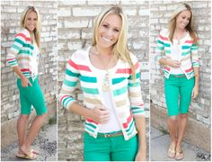 Multi Colored Striped Cardigan $28.99 @The Nest On Main!! #stripes #springcolors #cardigan #fashion #boutique #thenestonmain