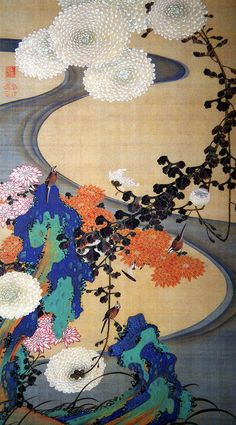 Ito Jakuchu - Chrysanthemums by a Stream, with Rocks, 1760
