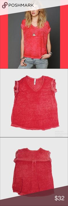 "Free People FP Beach ""Keep Me Tee"" Euc. Red v Neck burnout tee. Oversized and distressed. Very soft and semi sheer! Looks awesome with a cute bralette. Free People Tops"