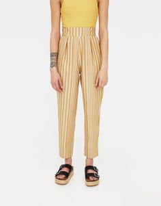 Striped trousers with darts - New - Woman - PULL&BEAR United Kingdom