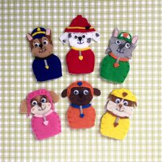 Handmade and Hand-Stitched Paw Patrol Finger Puppets your children will love. Perfect for quiet playtime!  Includes 6 finger puppets: - Chase - Marshall - Rubble - Rocky - Zuma - Skye Materials: - Felt - Cotton thread - Felt glue  No Returns or Refunds available.