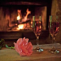 sparkling, a fire, and rose ahhh :)