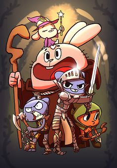 toqareign:  Picked up Skyrim recently for break times and hey, why not the gumball cast in rpg ware ^ ^  this is too good