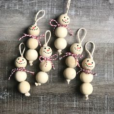 Wood Bead Snowman Ornaments