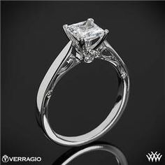 Verragio 4 Prong Princess Solitaire Engagement Ring #whiteflash #verragio