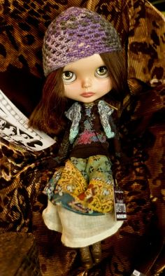Stairway To Heaven. Knitted Sweater, Tee Shirt, Boho Skirt, Crocheted Hat, Butterfly Choker, Backstage Pass And Poster For Blythe Doll