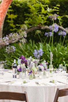 purple garden tablescape |  Photography by aureliadamore.com | Event Planning by amazinggracedesign.com | Floral Design by hiddengardenflowers.com |   Read more - http://www.stylemepretty.com/2013/06/07/malibu-wedding-from-aurelia-damore/