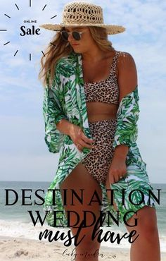 Adorable palm print robe is the perfect getting ready robe for you and your girls. Perfect for a beach or destination wedding!