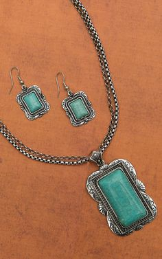 West & Co Silver Double Chain with Rectangle Turquoise Pendant Necklace and Earrings Jewelry Set