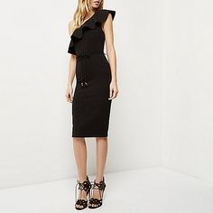 Black ruffle asymmetric bodycon dress - bodycon dresses - dresses - women