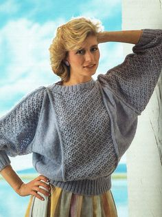 de699cc60 PDF Vintage 1980s Womens Ladies Knitting Pattern Batwing Blue Lacy