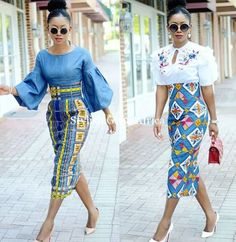Classy picture collection of Beautiful Ankara Skirt And Blouse Styles These are the most beautiful ankara skirt and blouse trending at the moment. If you must rock anything ankara skirt and blouse styles and design. African Fashion Skirts, African Fashion Designers, African Print Dresses, African Print Fashion, Africa Fashion, African Dress, Skirt Fashion, African Print Pencil Skirt, African Prints