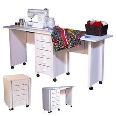 Double Mobile Craft Sewing desk that easily fits into small spaces
