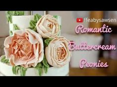 Buttercream peonies, romantic ruffled flowers, roses & peony buds - how . Buttercream Flowers Tutorial, Buttercream Ruffles, Buttercream Cake Decorating, Cake Decorating Techniques, Cake Decorating Tutorials, Pretty Cakes, Beautiful Cakes, Rose Tutorial, Frosting Techniques