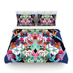 East Urban Home Herz Blue Floral by Danii Pollehn Featherweight Duvet Cover Size:
