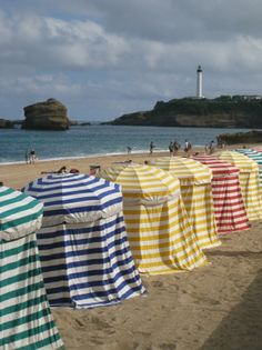 Cabines de plages à Biarritz Beach Cabana, Beach Mat, Seaside, Outdoor Blanket, Summer, France, Holiday, Inspiration, Vintage