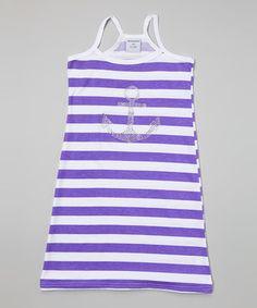 Happy Kids for Kids White & Purple Stripe Anchor Racerback Dress - Girls Little Girl Outfits, Cute Outfits For Kids, Purple Lace, Baby Dress, Spring Summer Fashion, Girls Dresses, Anchor, Happy Kids, Clothes