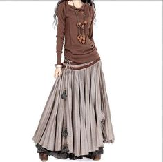 BOHO casual looser long cotton and linen extra large hem skirt N-444: