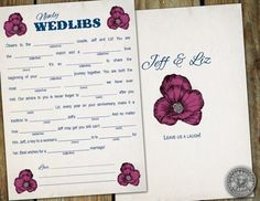 Ask your guests to fill out mad libs. | 25 Ways To Make Your Wedding Funnier