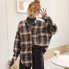 Korean-style check cotton long sleeve casual shirt- can find Korean fashion and more on our website. Mode Outfits, Retro Outfits, Cute Casual Outfits, Casual Shirts, Winter Outfits, Fashion Outfits, Fashion Men, Korea Fashion, Flannel Outfits